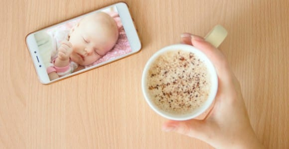 parent so attached to baby monitor